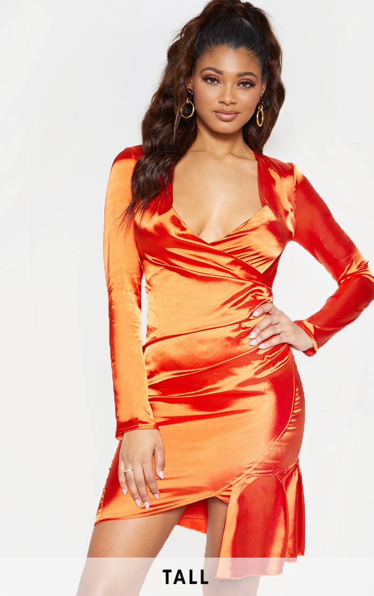 022719657972 Tall Orange Satin Ruched Long Sleeve Bodycon Dress image 1