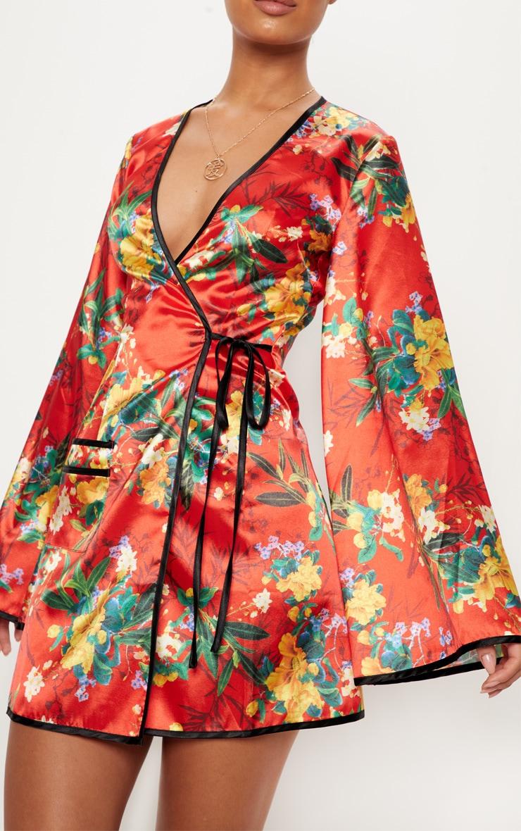dc59c2bebb04 Red Oriental Contrast Kimono Wrap Dress image 5