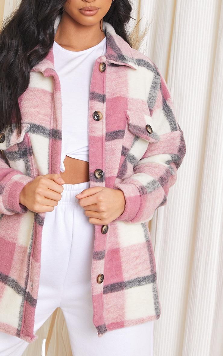 Petite Pink Brushed Check Oversized Shacket 4