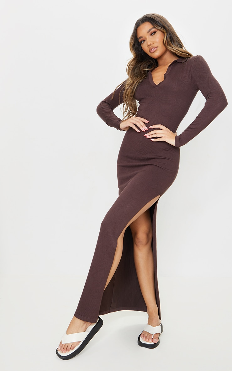 Chocolate Collar Detail Maxi Side Split Knitted Dress 3