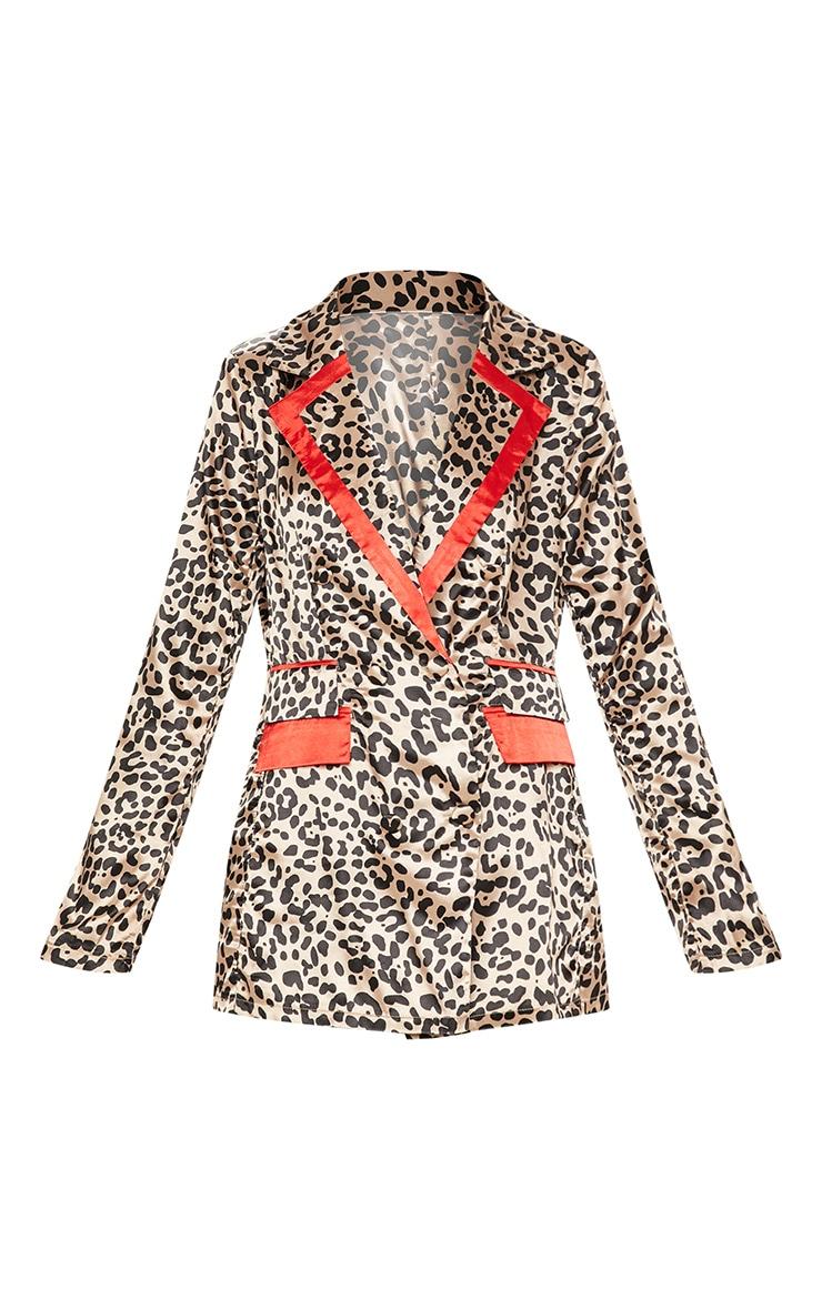 Brown Leopard Print Satin Trim Blazer 3