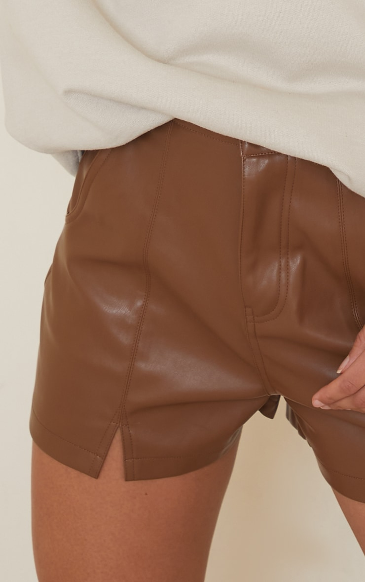 Chocolate Seam Detail Faux Leather Shorts 5