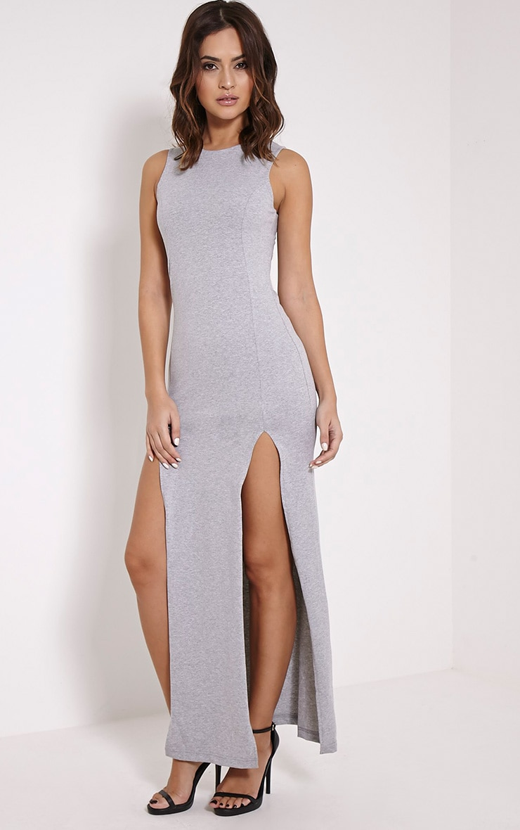 Karina Grey Marl Front Split Dress 3