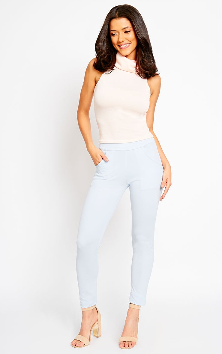 Sage Powder Blue Crepe Cigarette Trousers 5