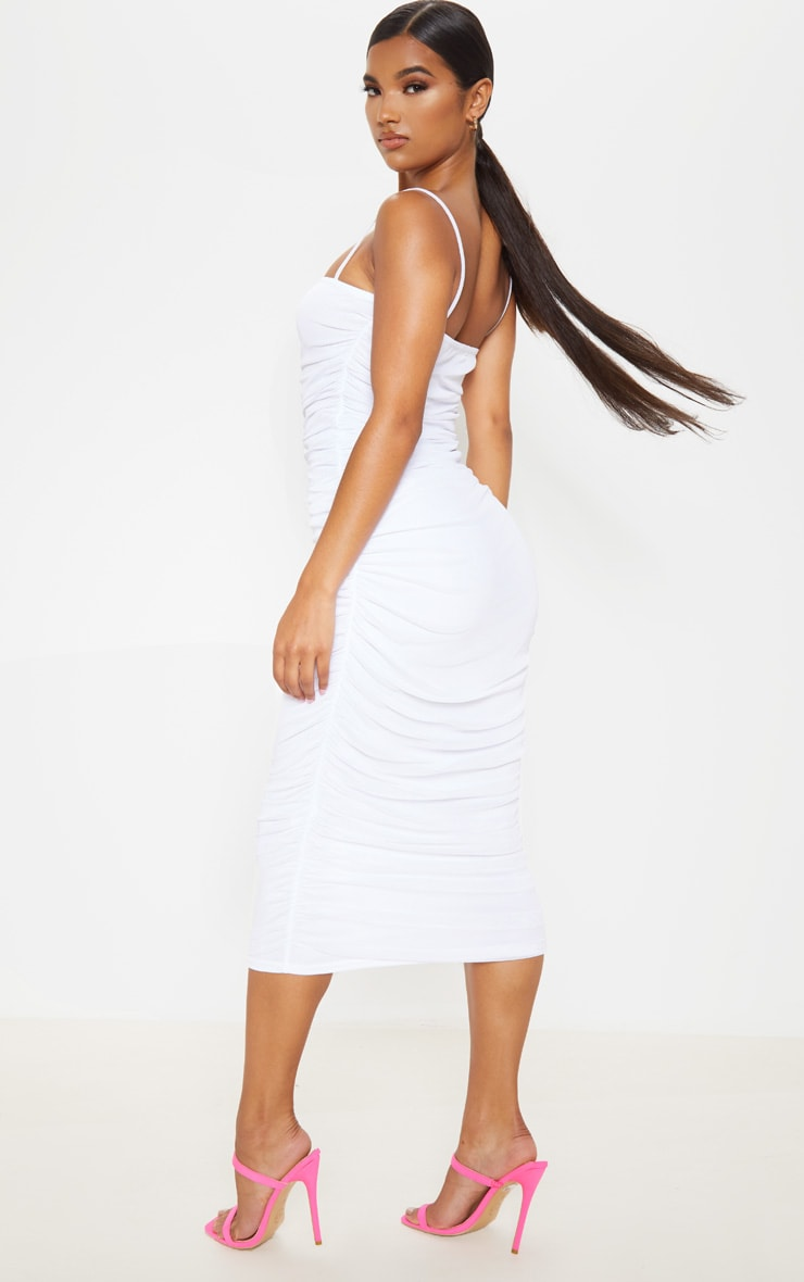 White Strappy Mesh Ruched Midaxi Dress 2