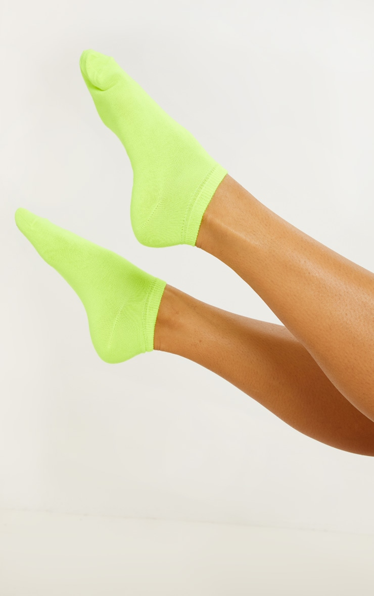 Neon Yellow Trainer Socks 1