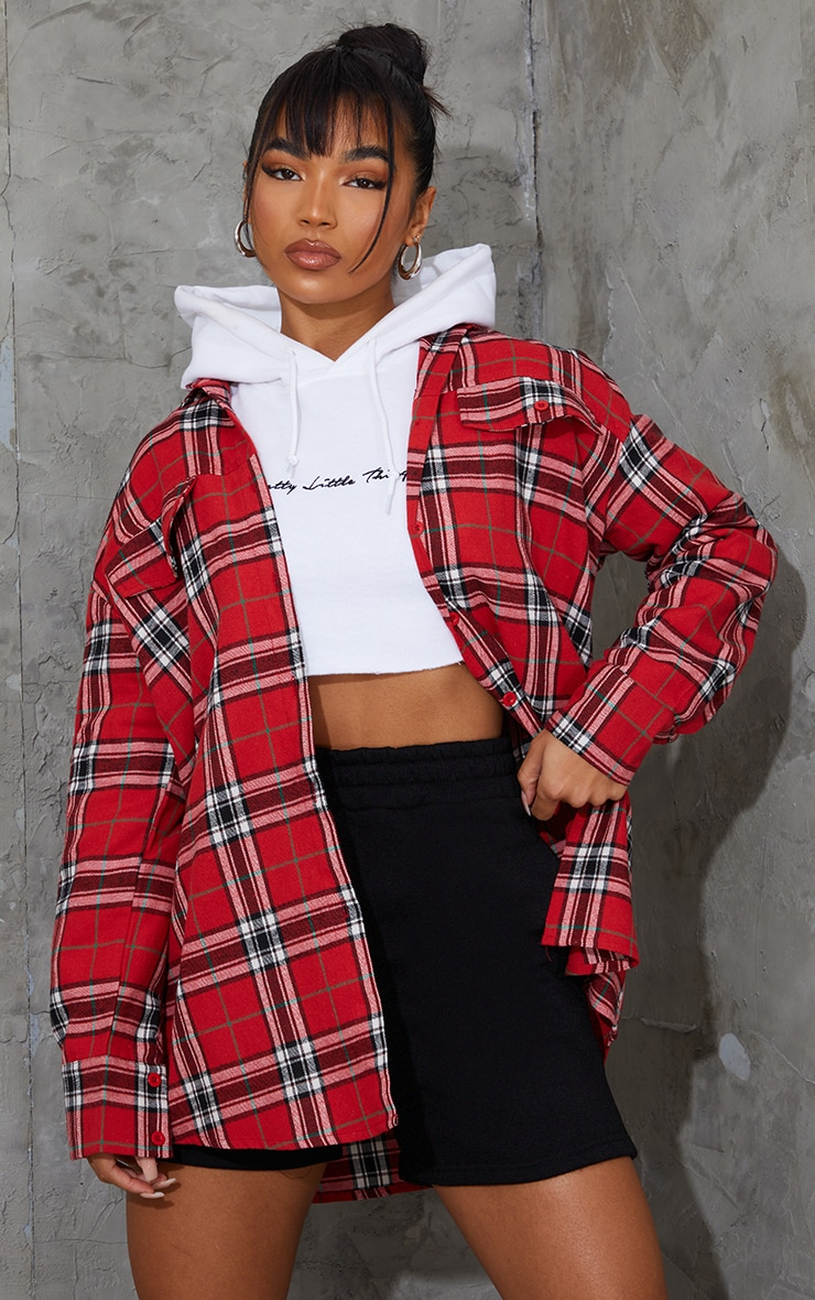 PRETTYLITTLETHING Red Back Print Checked Oversized Shirt 1