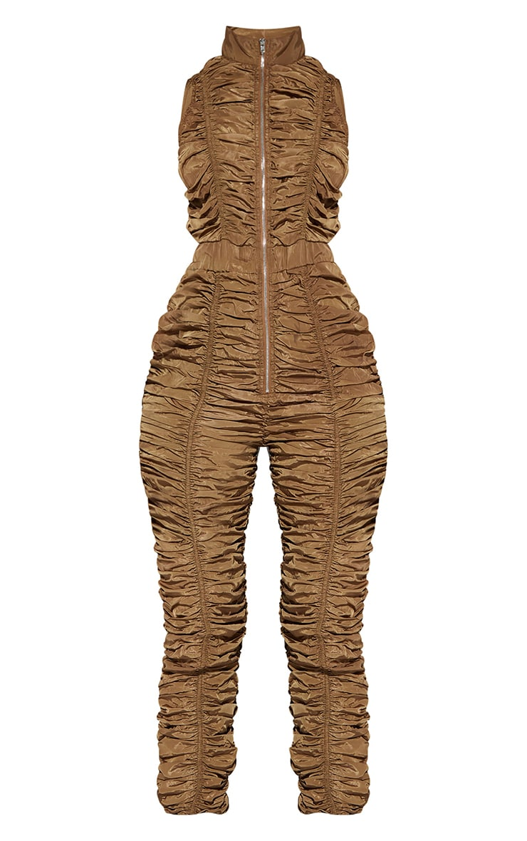 Brown Ruched Shell Sleeveless Zip Jumpsuit 5