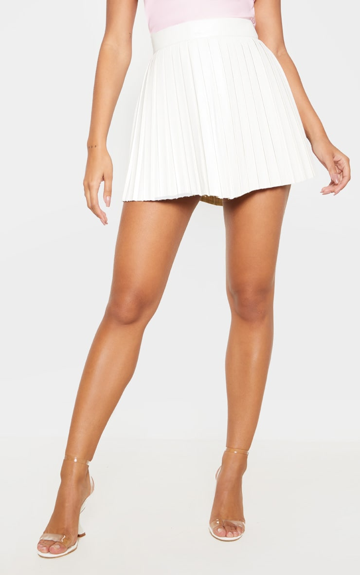Cream Faux Leather Pleated Skater Skirt  2