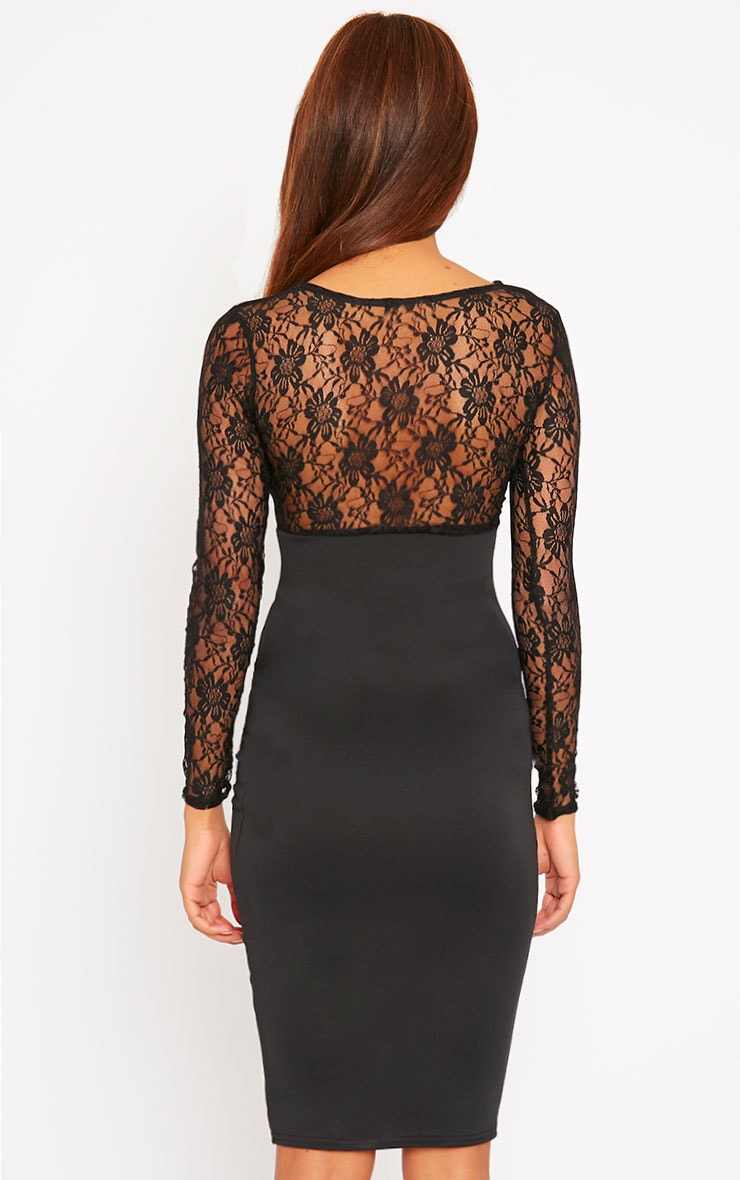 Perla Black Lace Insert Dress 2