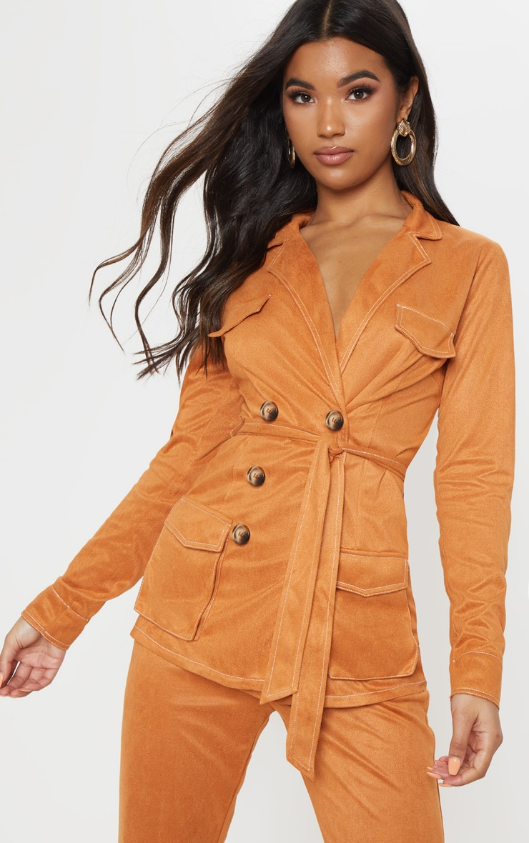 Toffee Pocket Detail Tie Waist Blazer