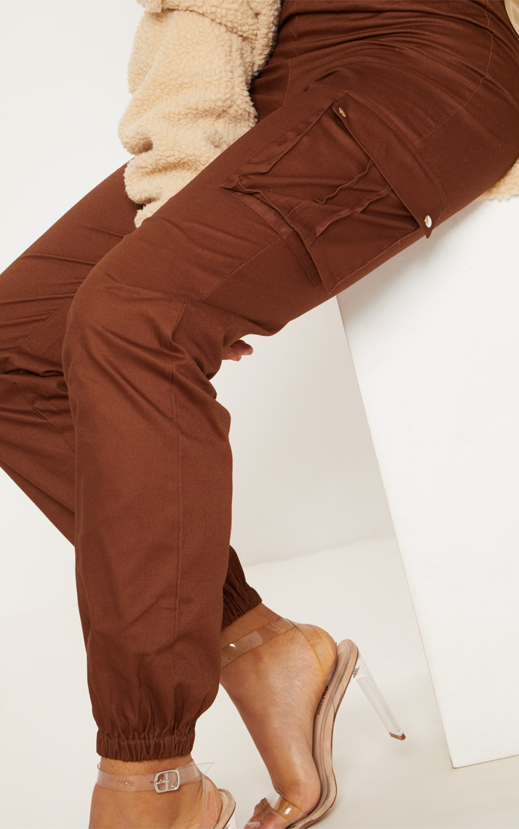 Tall Chocolate Brown Pocket Detail Cargo Pants 5