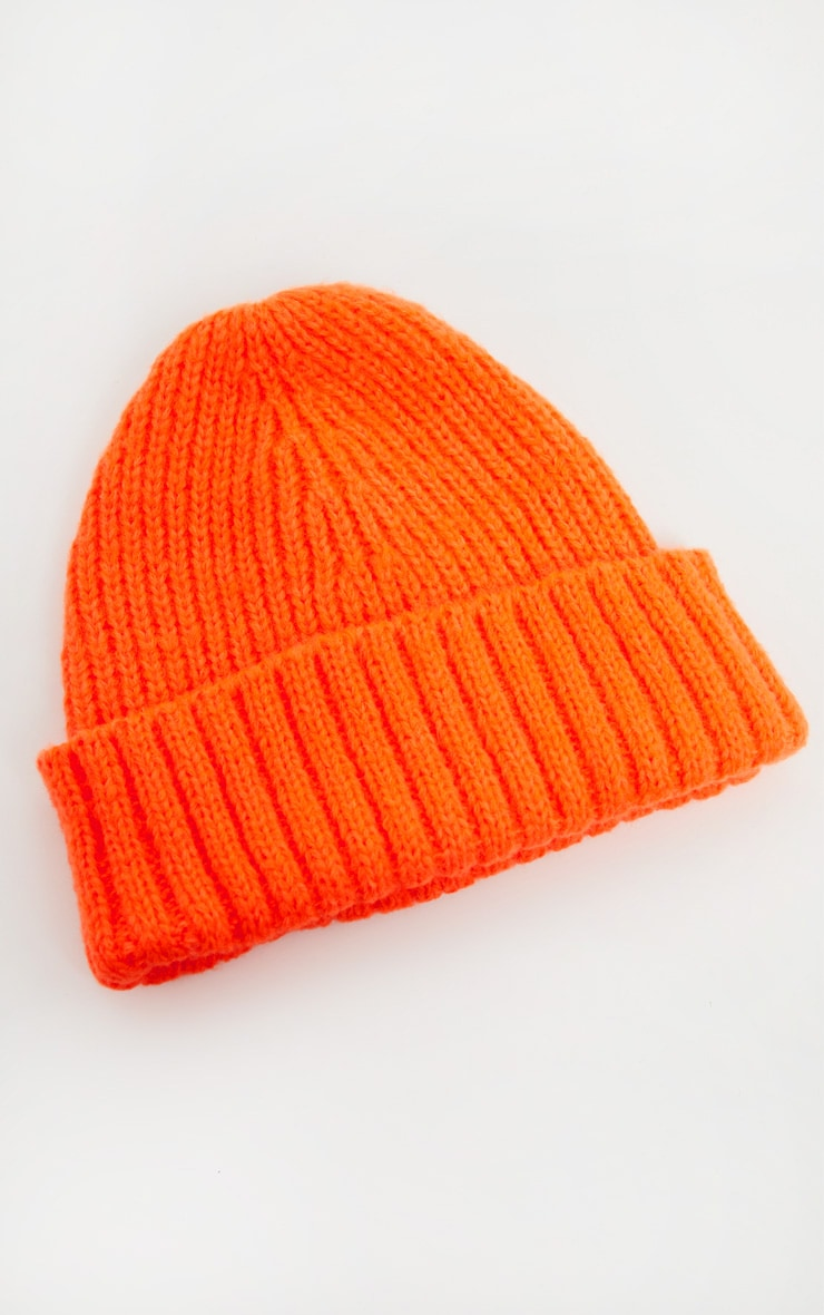 Neon Orange Knitted Ribbed Beanie 2