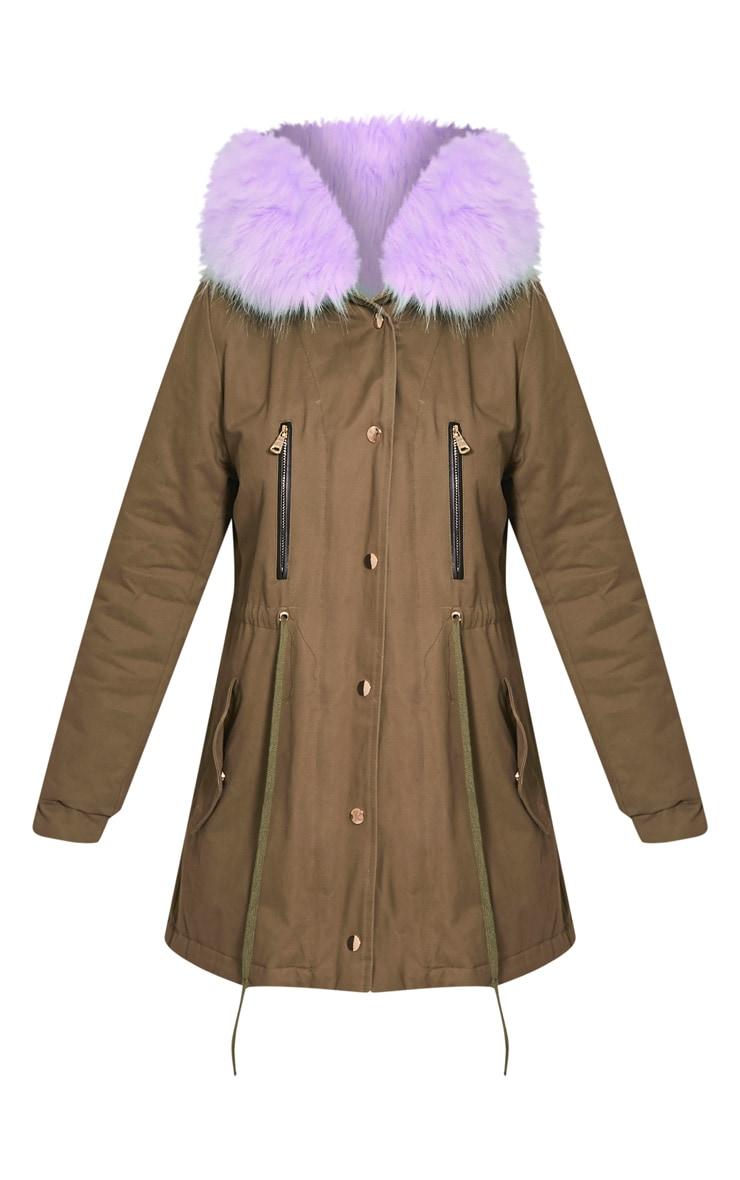 Nia Lilac  Faux Fur Lined Parka 3
