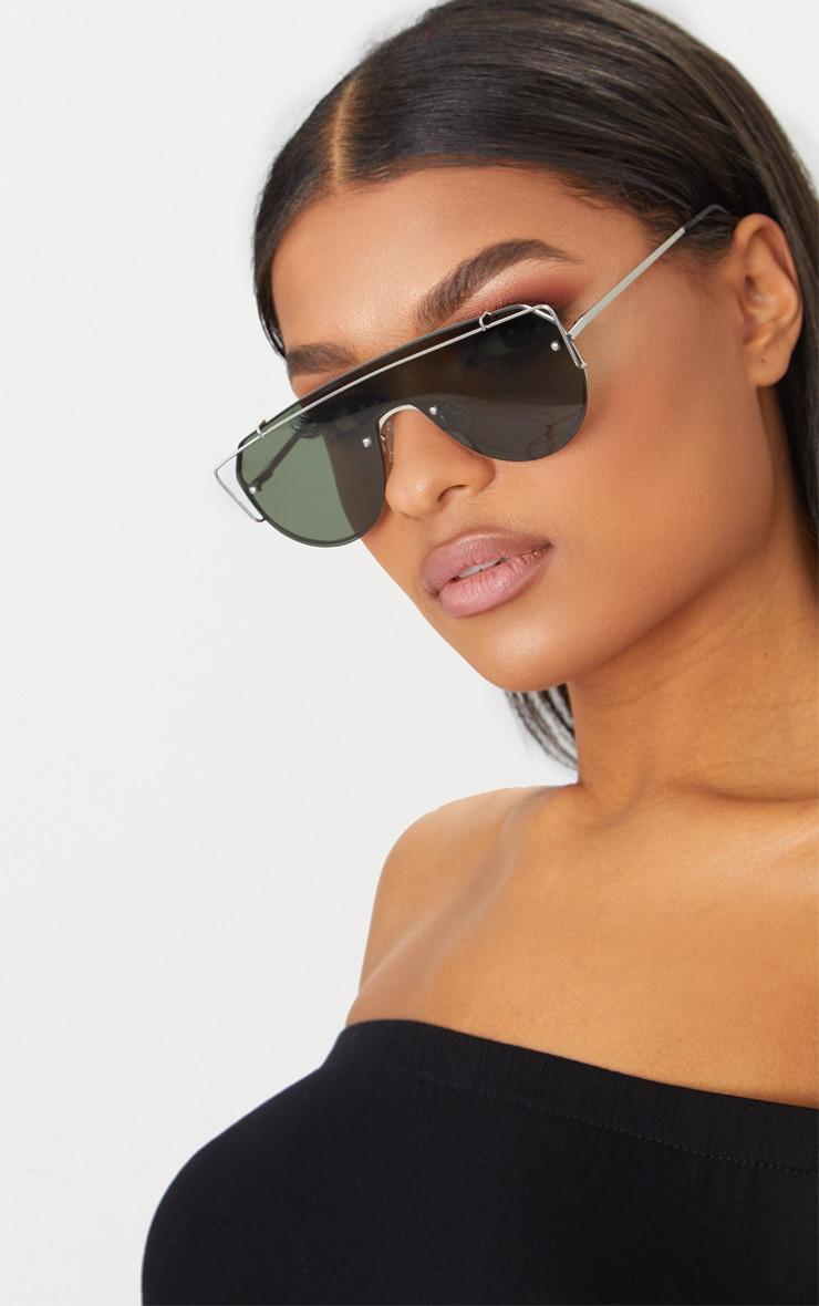 Silver Sporty Curve Aviator Sunglasses 2
