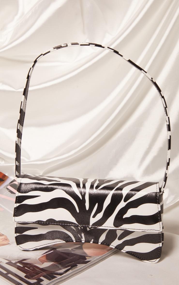 Zebra PU Flap Over Baguette Shoulder Bag 2