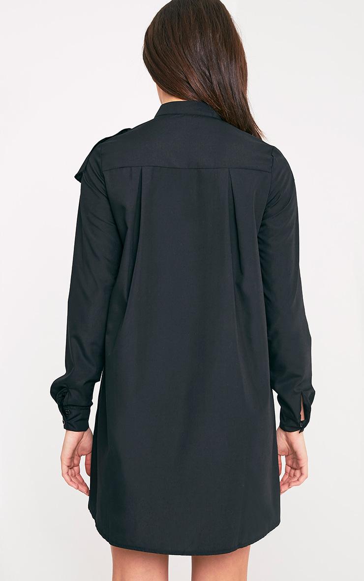 Flora Black Frill Front Shirt Dress 2