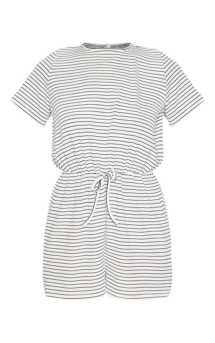 White Stripe Drawstring Waist Playsuit 3