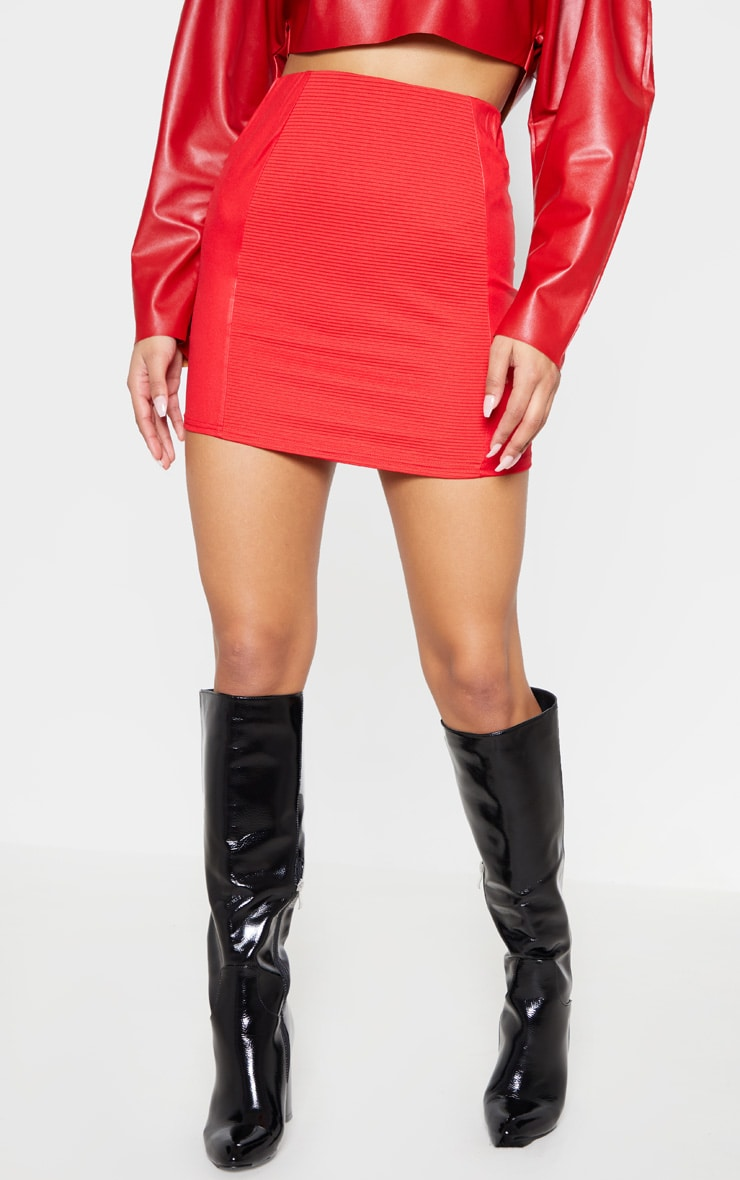 Red Rib Panel Wet Look Mini Skirt 2