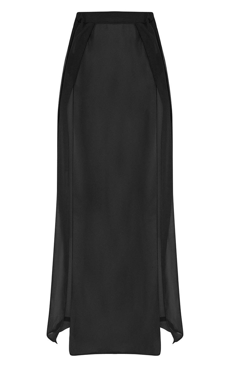 Petite - Jupe longue noire en mesh 3