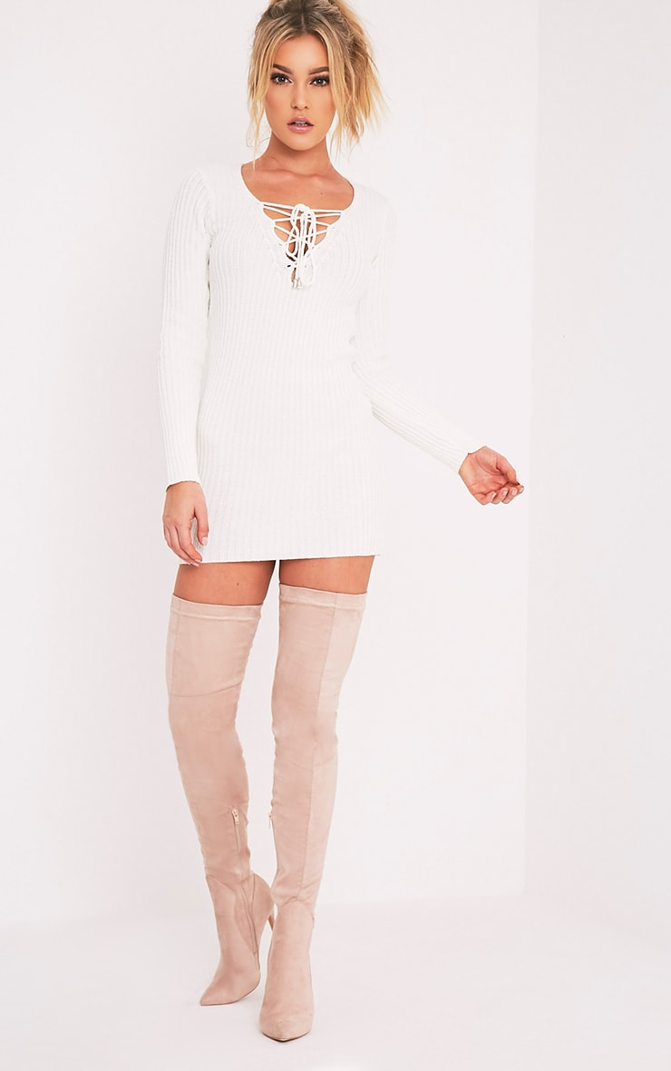 Zosia Cream Lace Up Knitted Jumper Dress 5