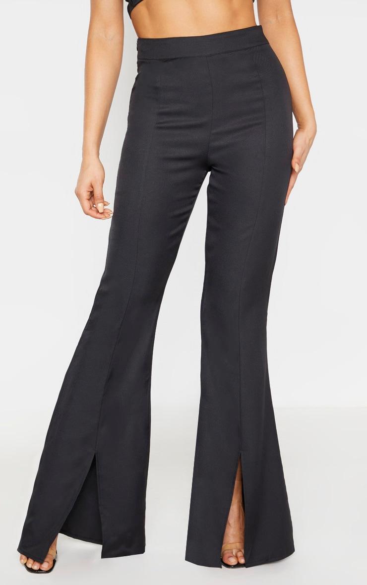 Tall - Pantalon taille haute noir à devant fendu 2