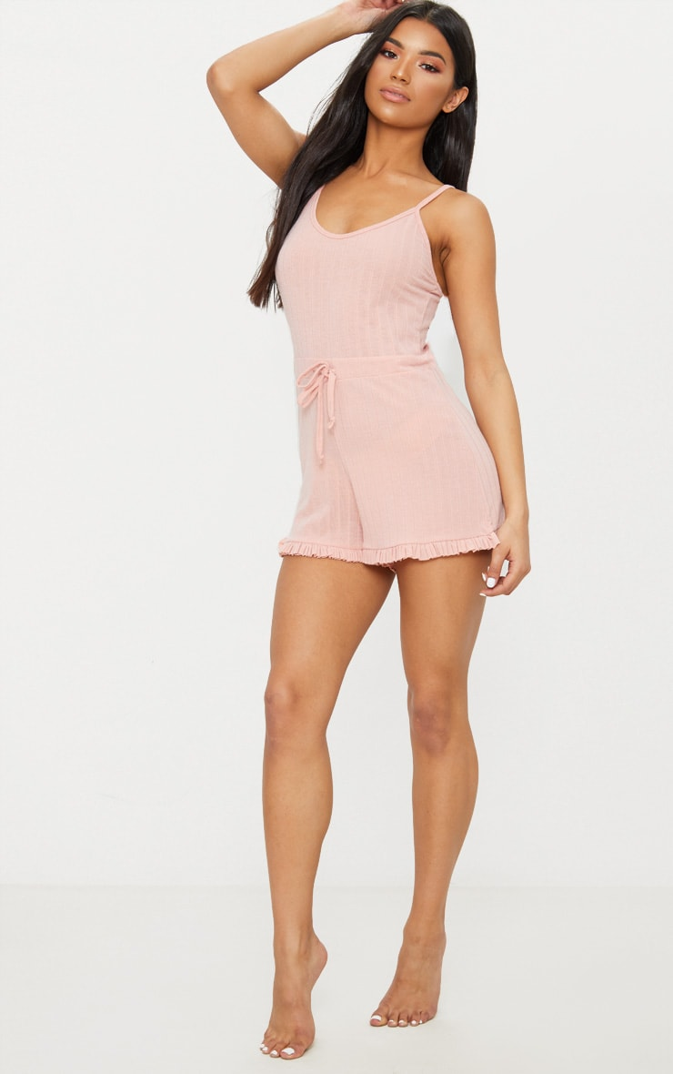 Pale Pink Strappy Thick Rib PJ Romper 4