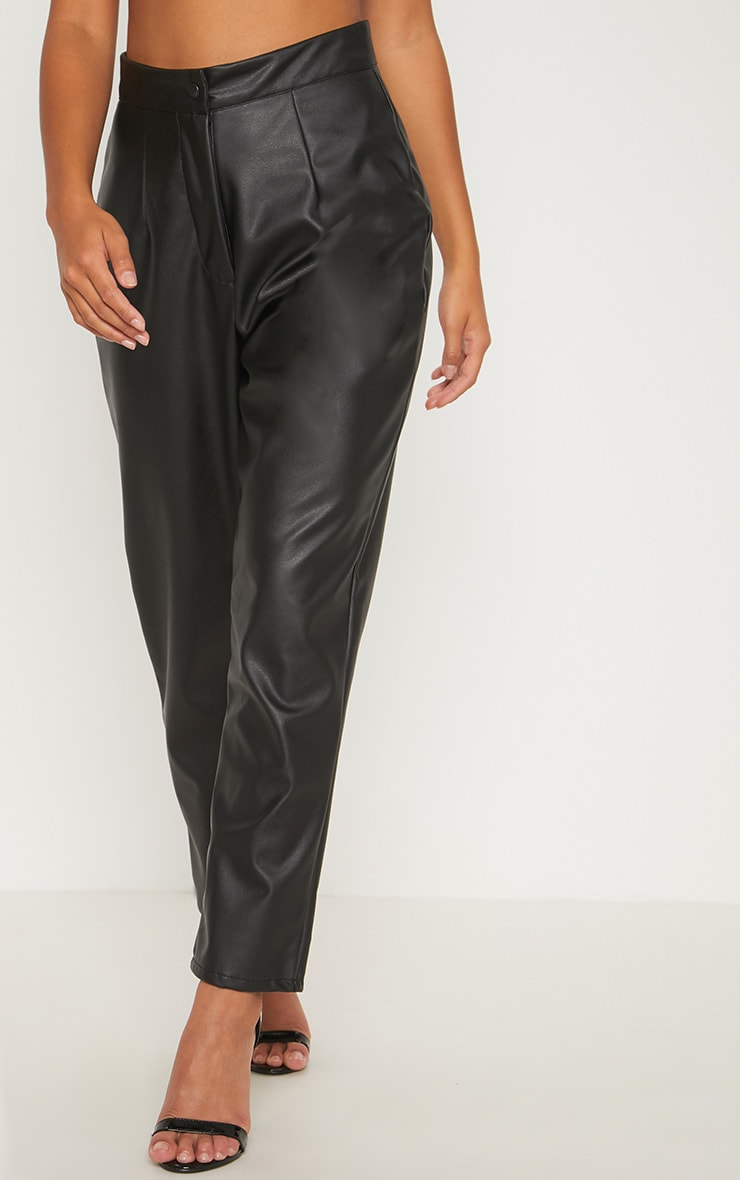 Petite Black Faux Leather Slim Leg Pants 2