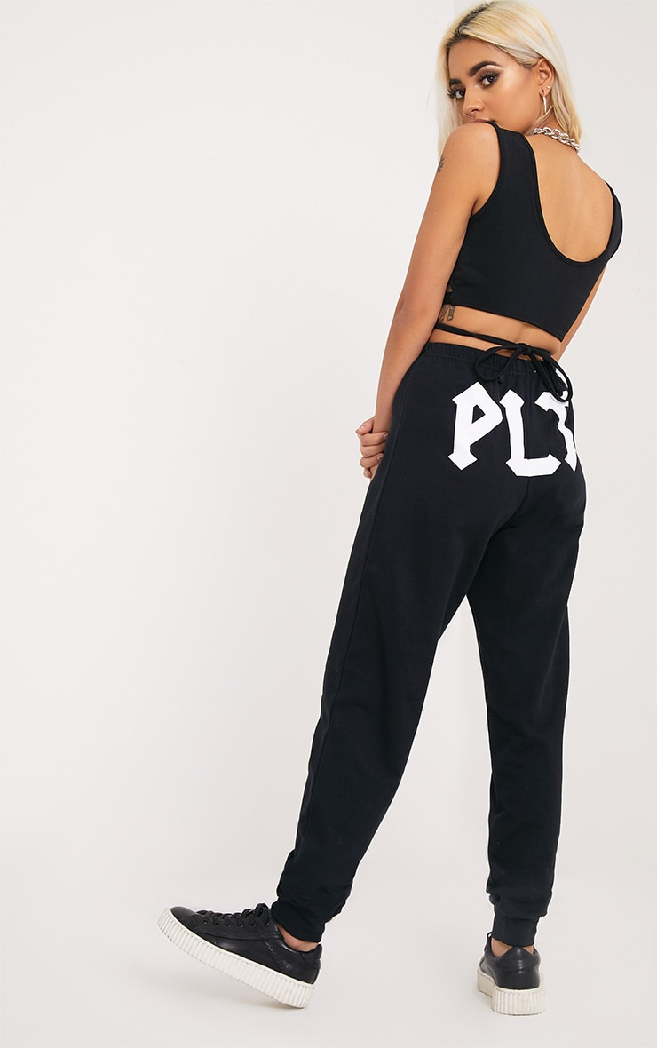 PLT Black Slogan Joggers 1