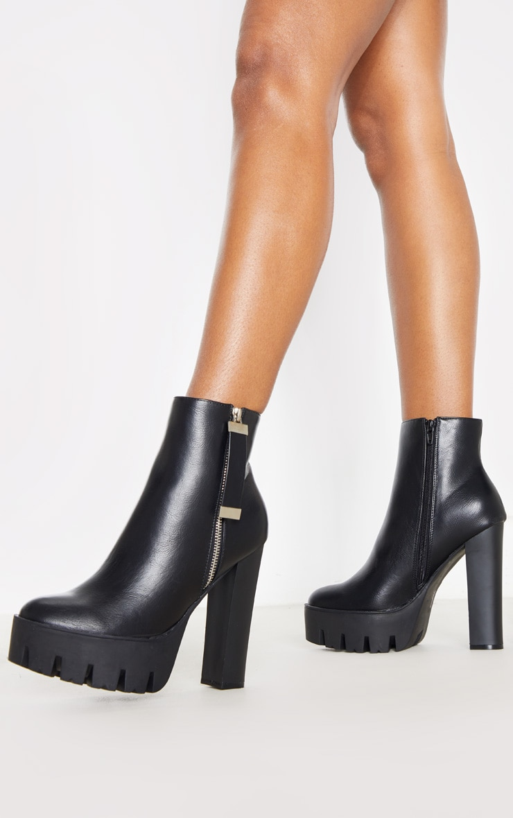 Black Platform Zip Ankle Boot 2