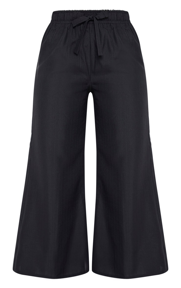 Plus Black Woven Wide Leg Tie Waist Pants 3