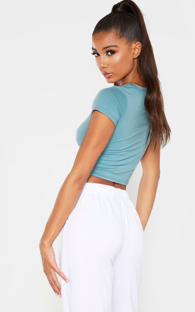 Dusty Turquoise Cotton Short Sleeve Crop Top 2