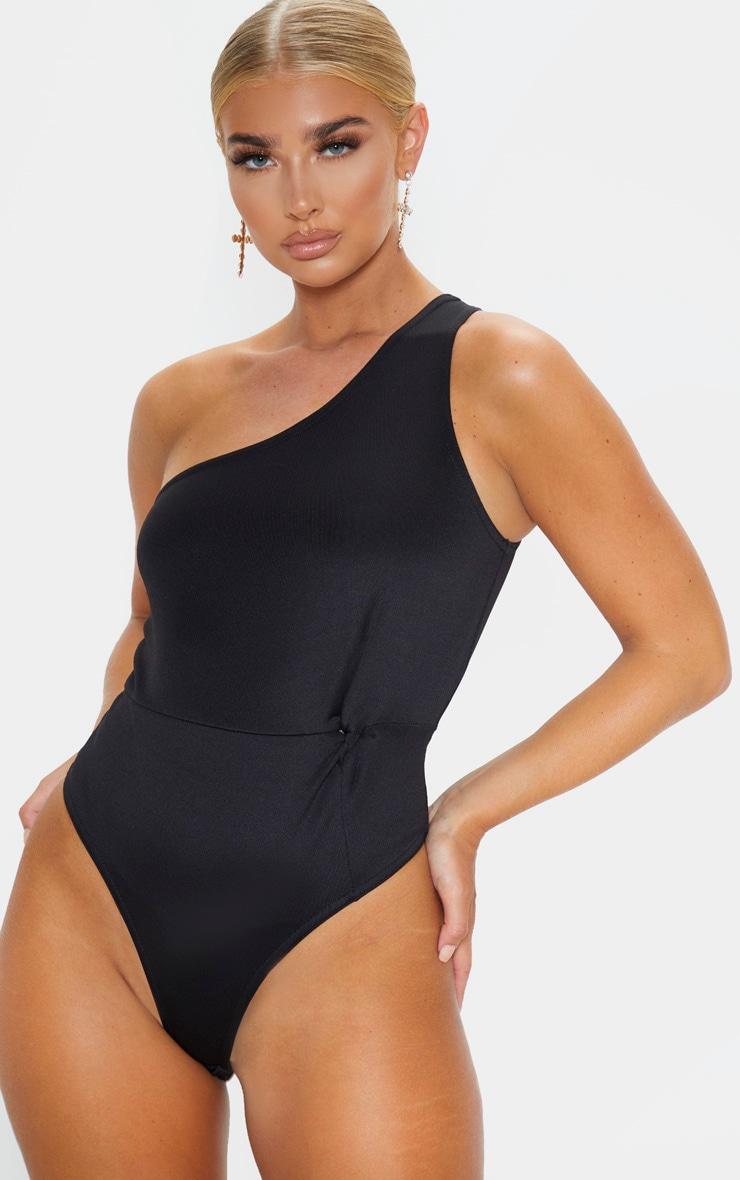 Black One Shoulder Scuba Bodysuit 2