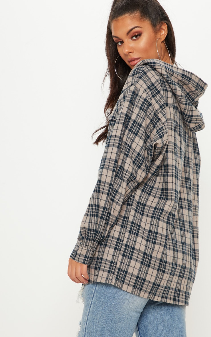 Stone Oversized Flannel Checked Shirt  2