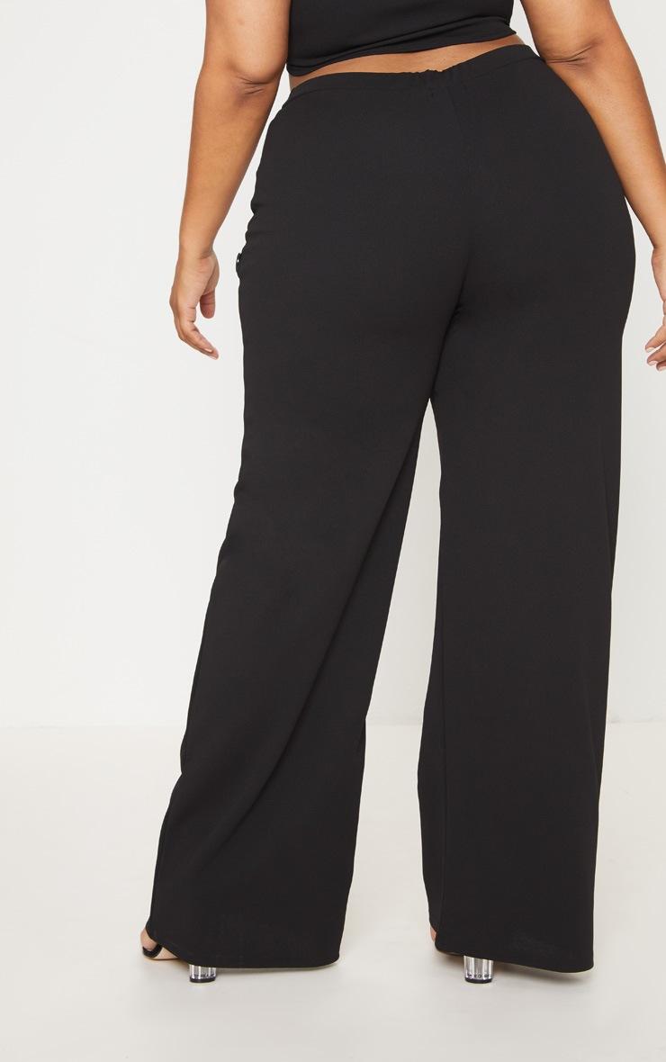 Plus Black Button Detail Wide Leg Trousers 4