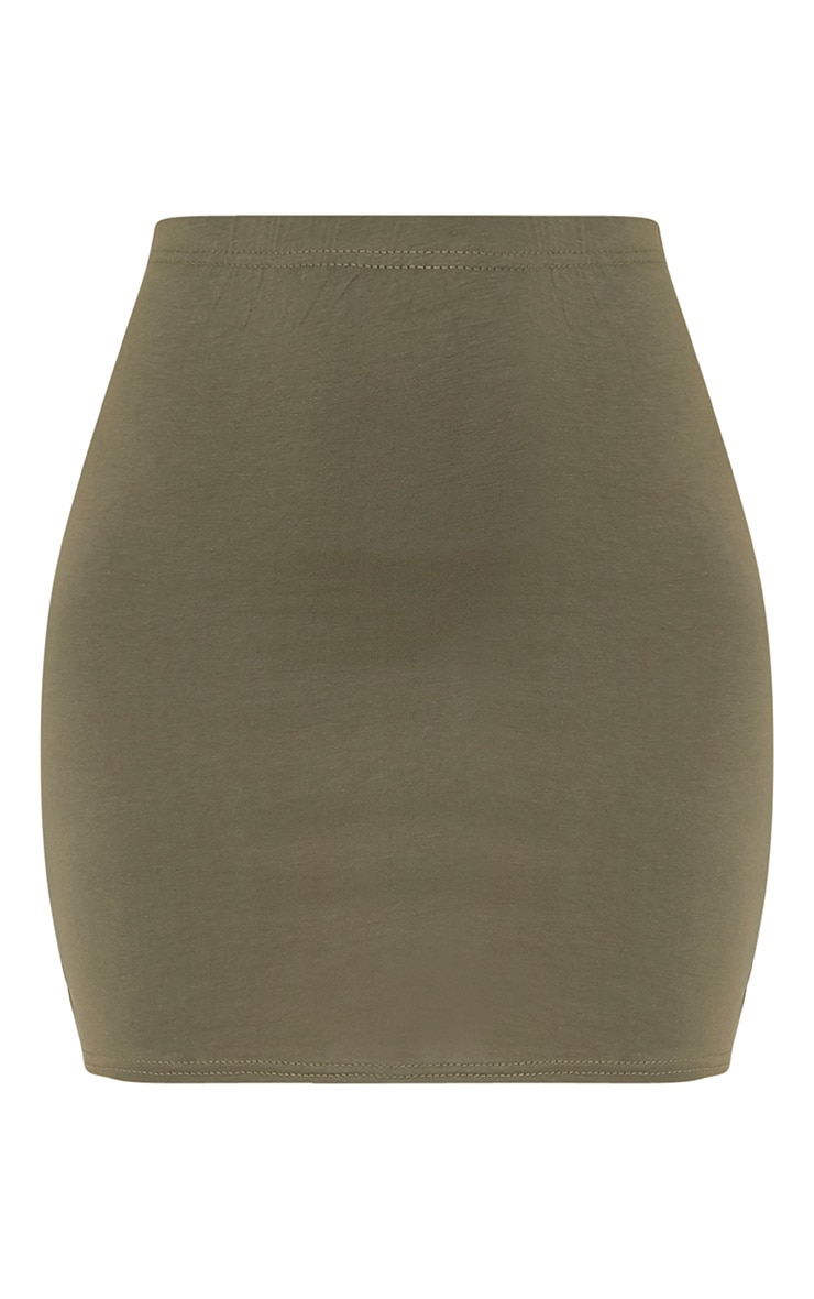 Basic Khaki Jersey Mini Skirt 3
