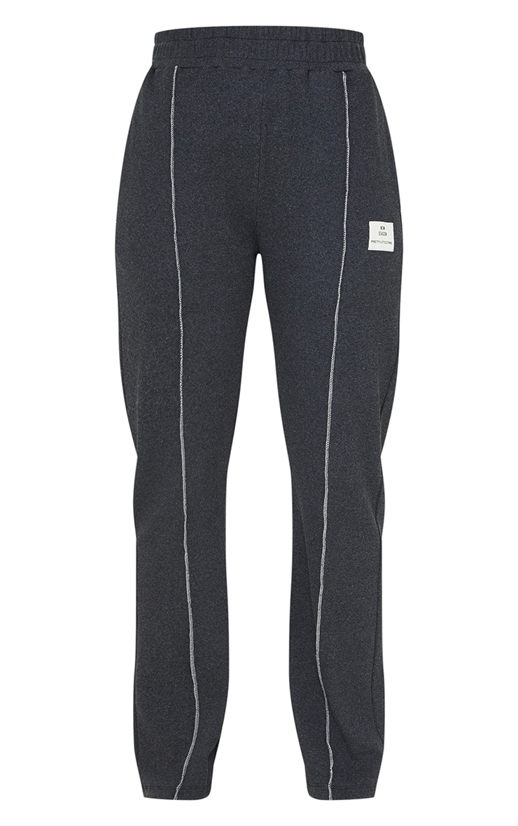 Charcoal New Season Contrast Front Seam Straight Leg Trousers 5