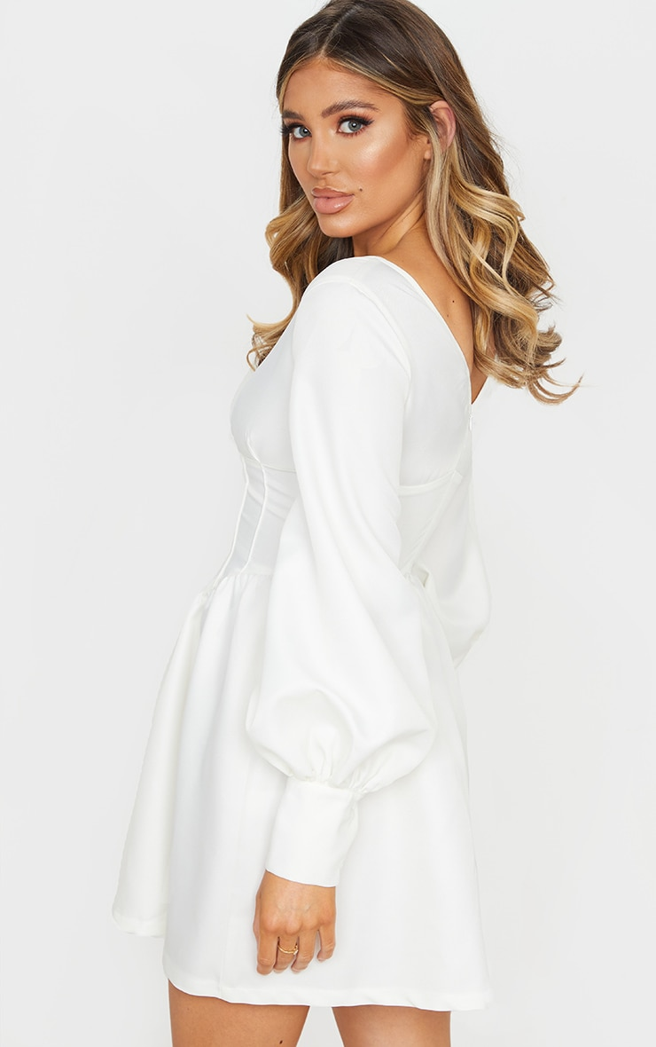 White V Neck Puff Sleeve Corset Detail Skater Dress 2