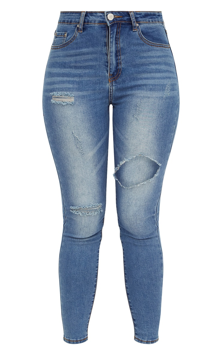 Mid Wash Open Thigh Skinny Jean 3