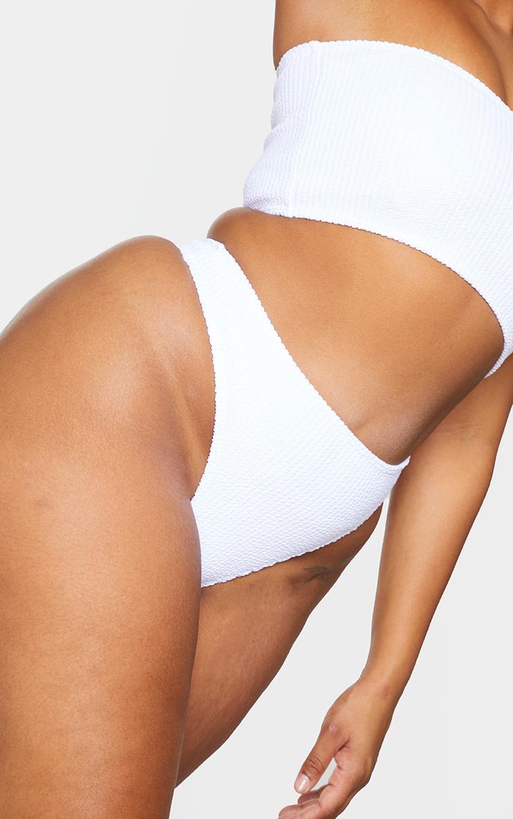 Plus White Crinkle Thong Bikini Bottoms 5