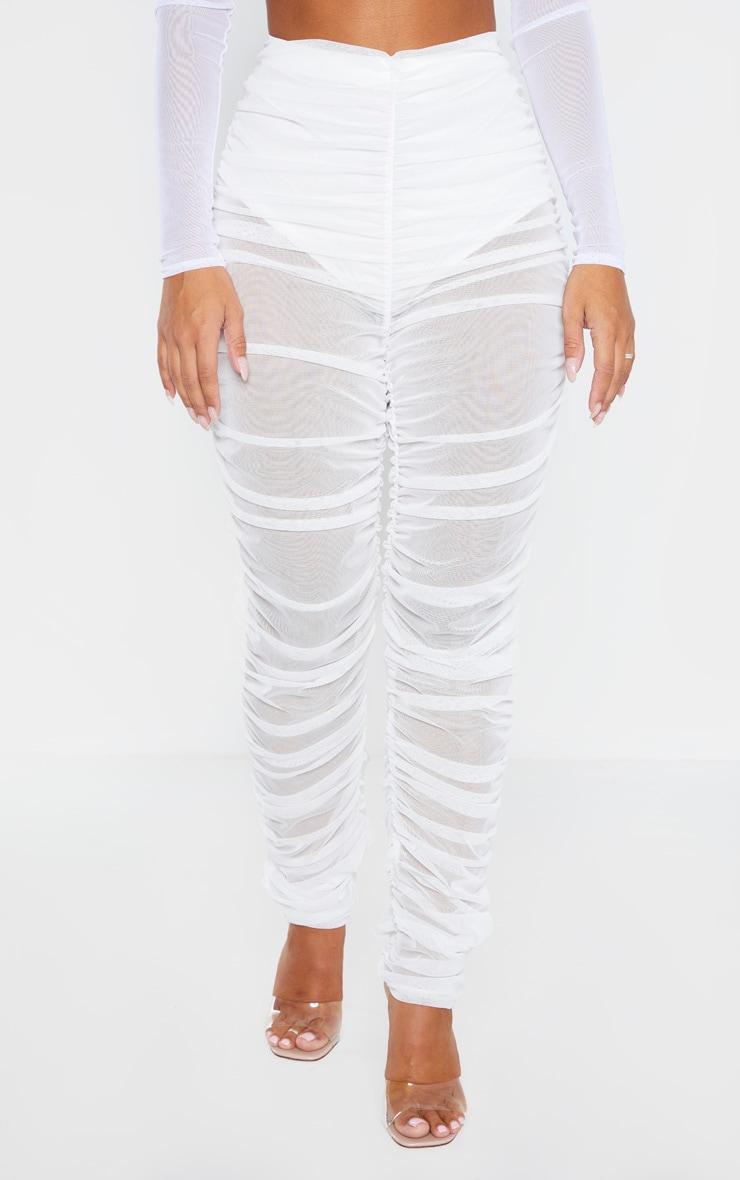 White Ruched Mesh Legging 4