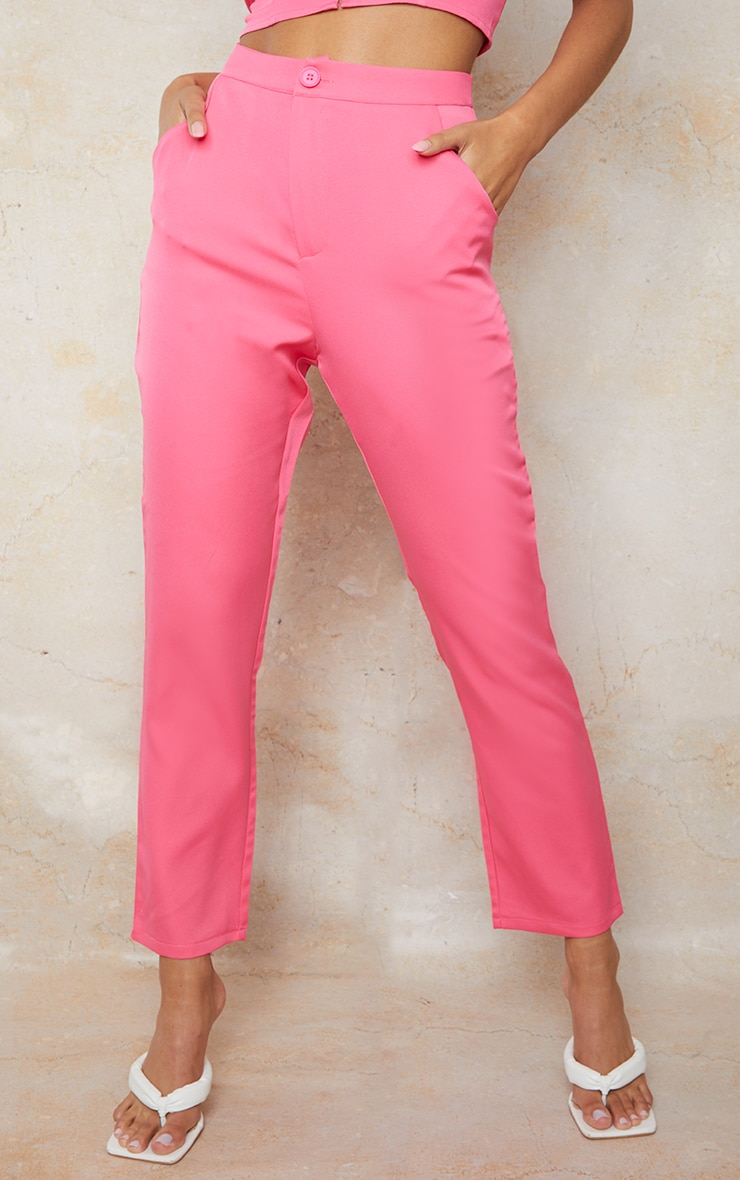 Hot Pink Woven Pocket Detail Cigarette Trousers 2