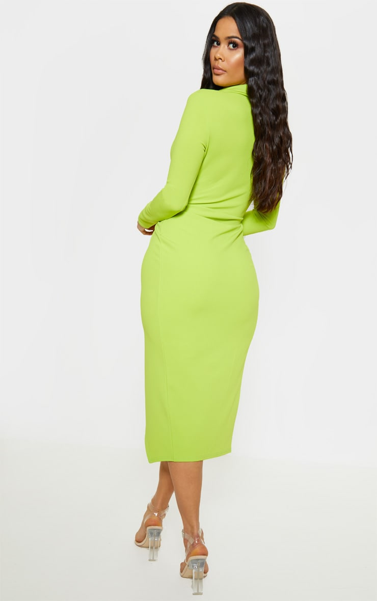Neon Lime Plunge Split Leg Midi Dress 2