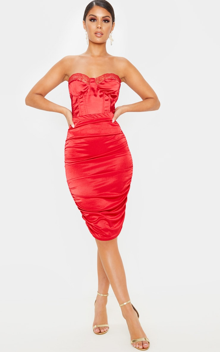 Deep Red Metallic Slinky Ruched Midi Skirt  1