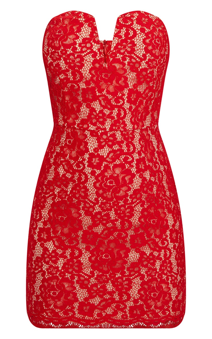 Red Bandeau Lace V Bar Bodycon Dress 3