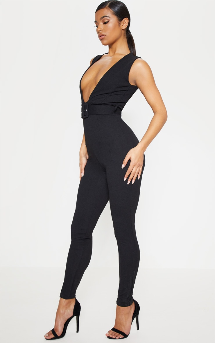 Black Plunge Square Belt Detail Jumpsuit 4