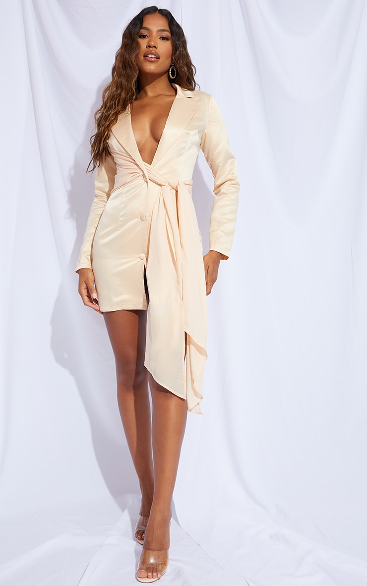 Champagne Satin Chiffon Drape Blazer Dress 1