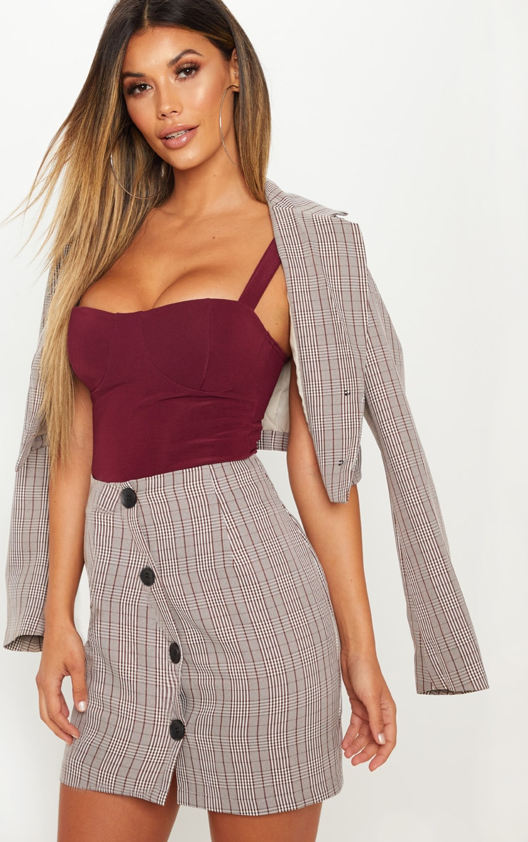 Burgundy Stretch Rib Strappy Cup Top