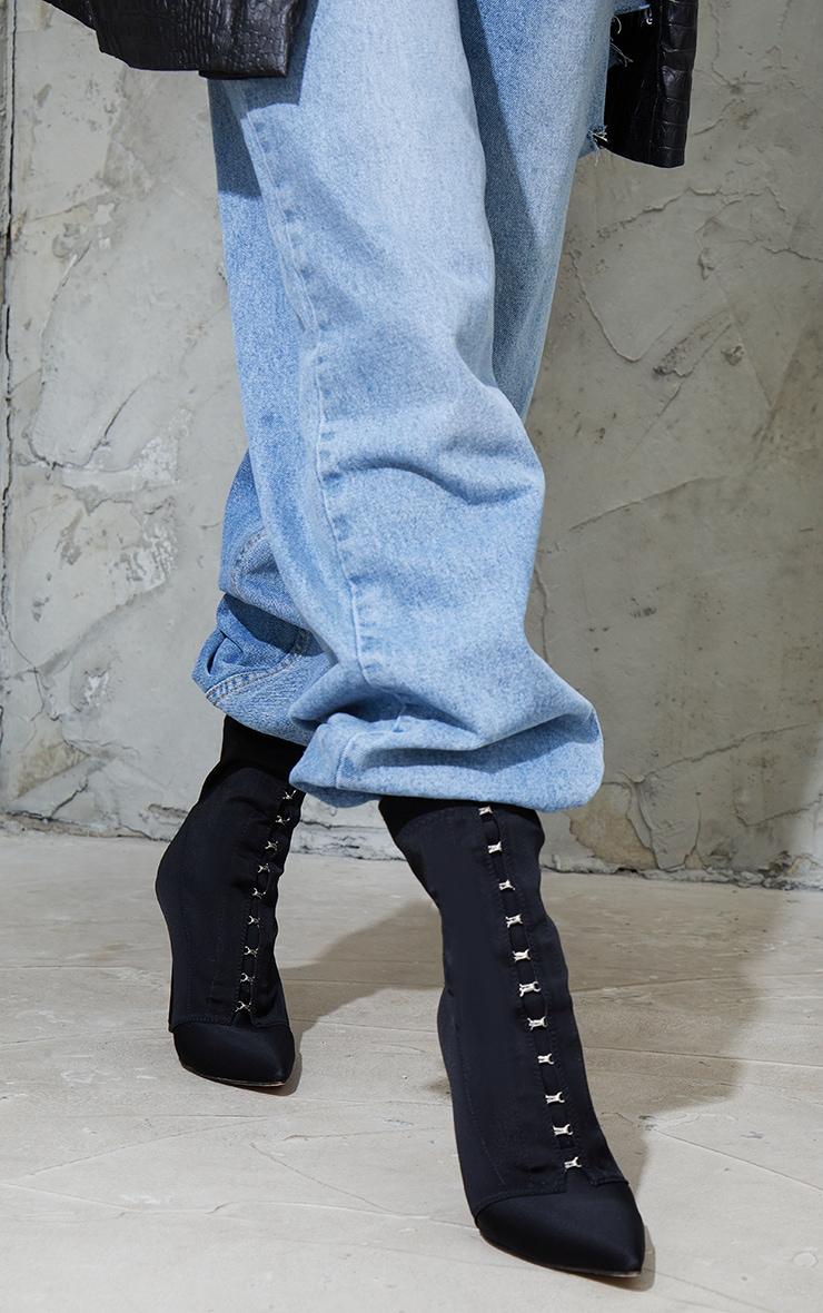 Black Lycra Hook And Eye High Heel Sock Boots 2