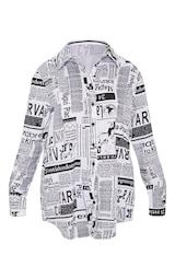 Mono Newspaper Print Oversized Shirt 3